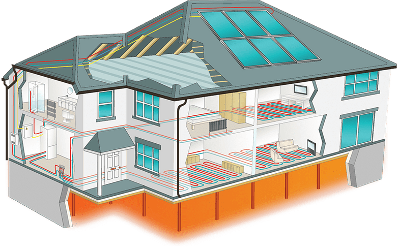Illustration of a house using the Caplin Solar system